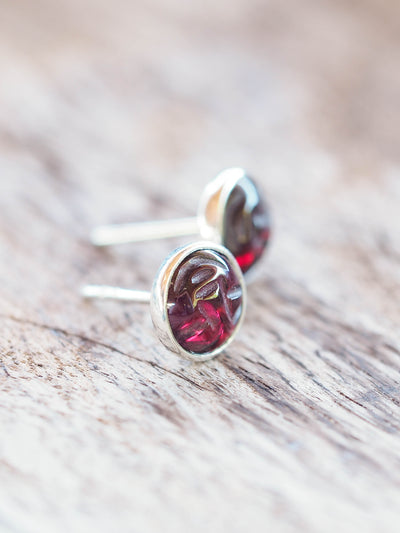 Man In the Moon Garnet Earrings