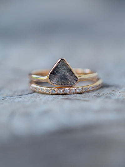 Pear Diamond Slice Ring in Rose Gold