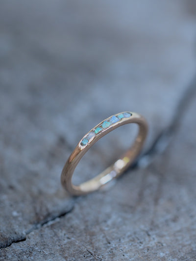 Fossil Opal Ring with Hidden Gems in Gold