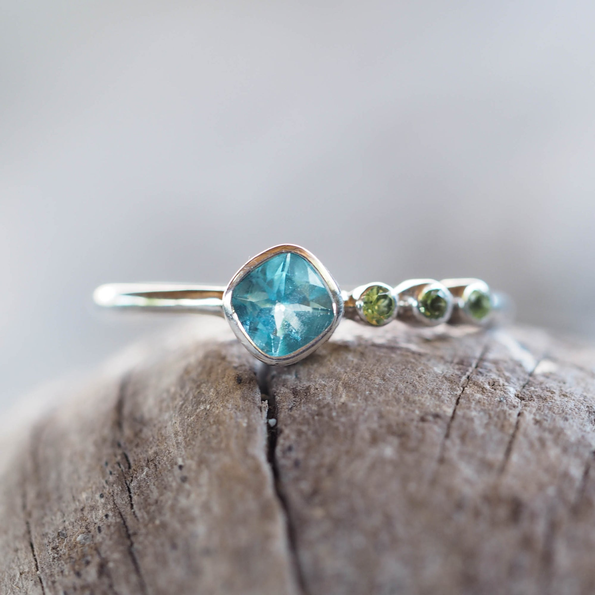 Apatite and Peridot Ring