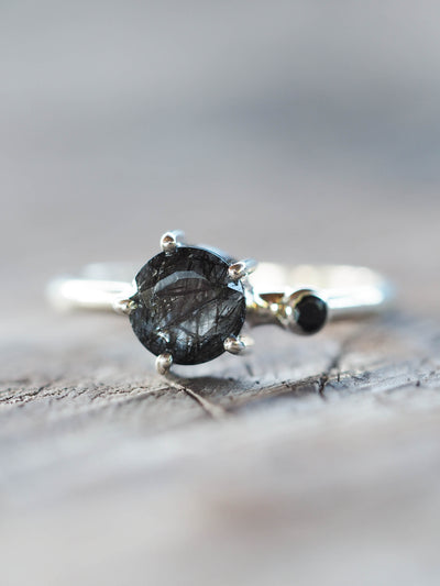 Unspoken // Tourmalinated Quartz and Black Spinel Ring