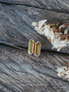 Hexagon Tourmaline Earrings in Eco Gold