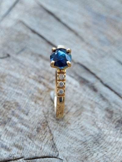AA Meri check Dark Blue Sapphire Ring In Eco Gold - Gardens of the Sun Jewelry