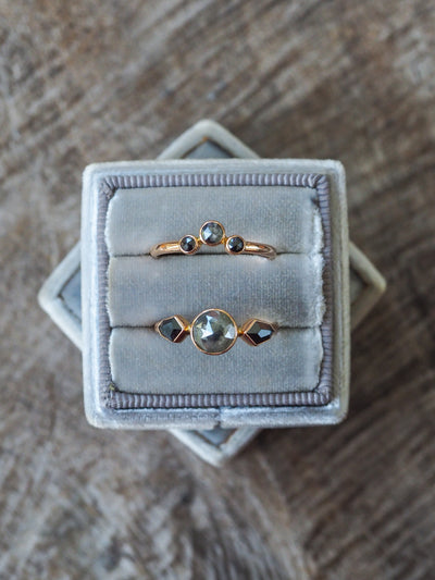 Diamond Angel Wings Ring Set in Rose Gold