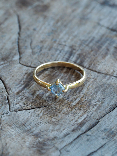 AA Meri check Baby Blue Sapphire Ring In Eco Gold - Gardens of the Sun Jewelry