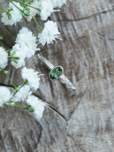 Green Tourmaline and Moonstone Ring