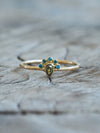 Green and Blue Diamond Ring in Gold