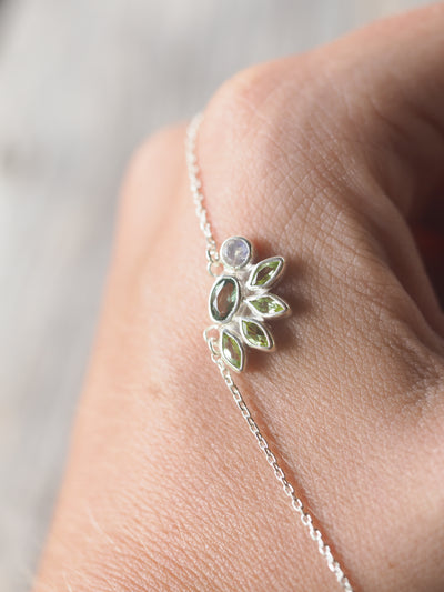 Apatite, Moonstone and Peridot Necklace - Gardens of the Sun Jewelry