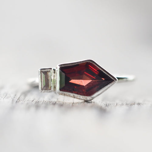 Shield Cut Garnet and Diamond Ring