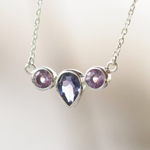 Purple Iolite, Amethyst and Ruby Necklace
