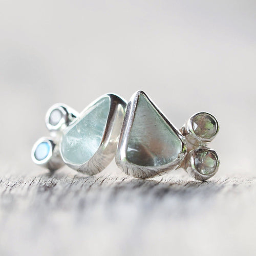 Aquamarine and Rainbow Moonstone Stud Earrings