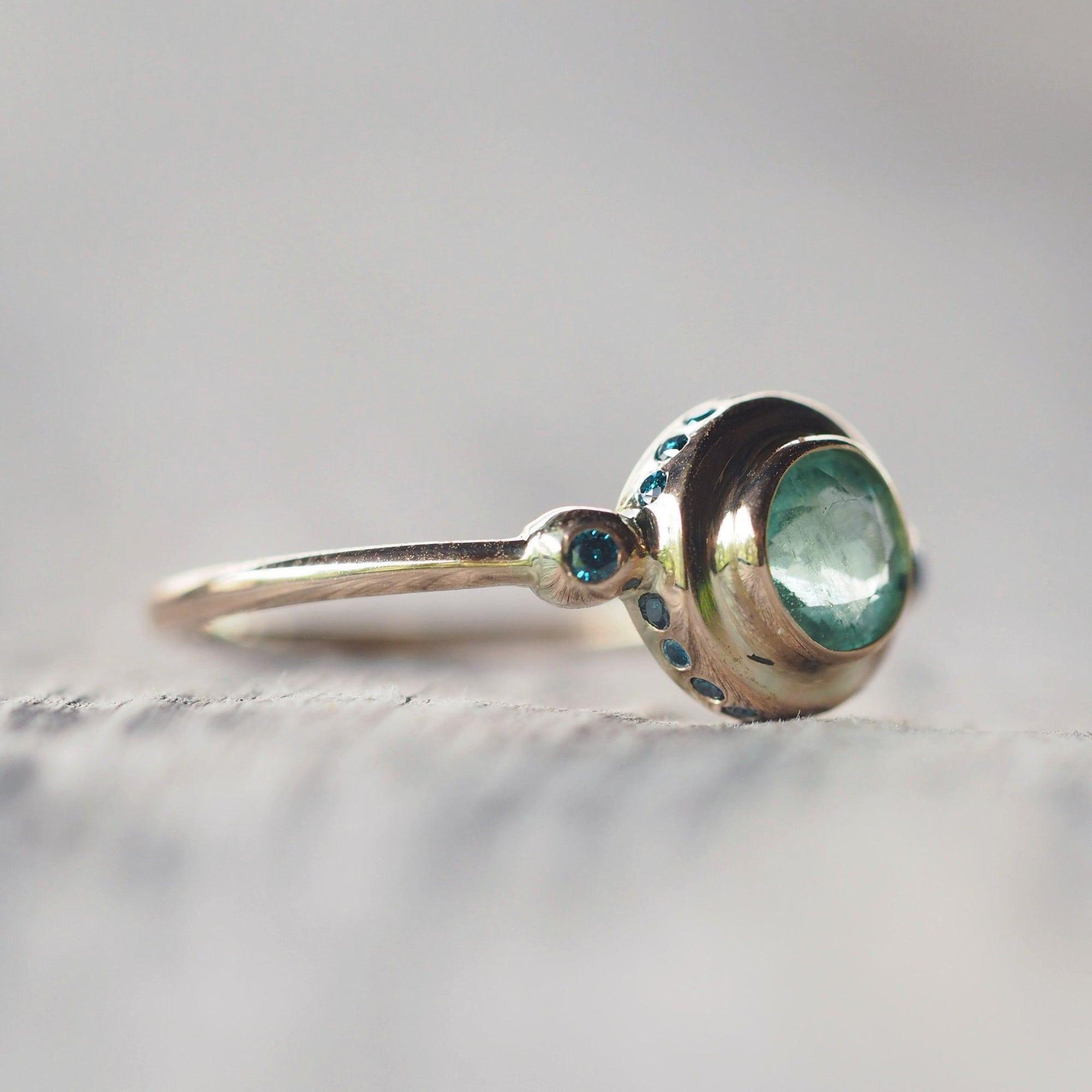 Emerald and Color Change Garnet Ring in Gold - Gardens of the Sun Jewelry