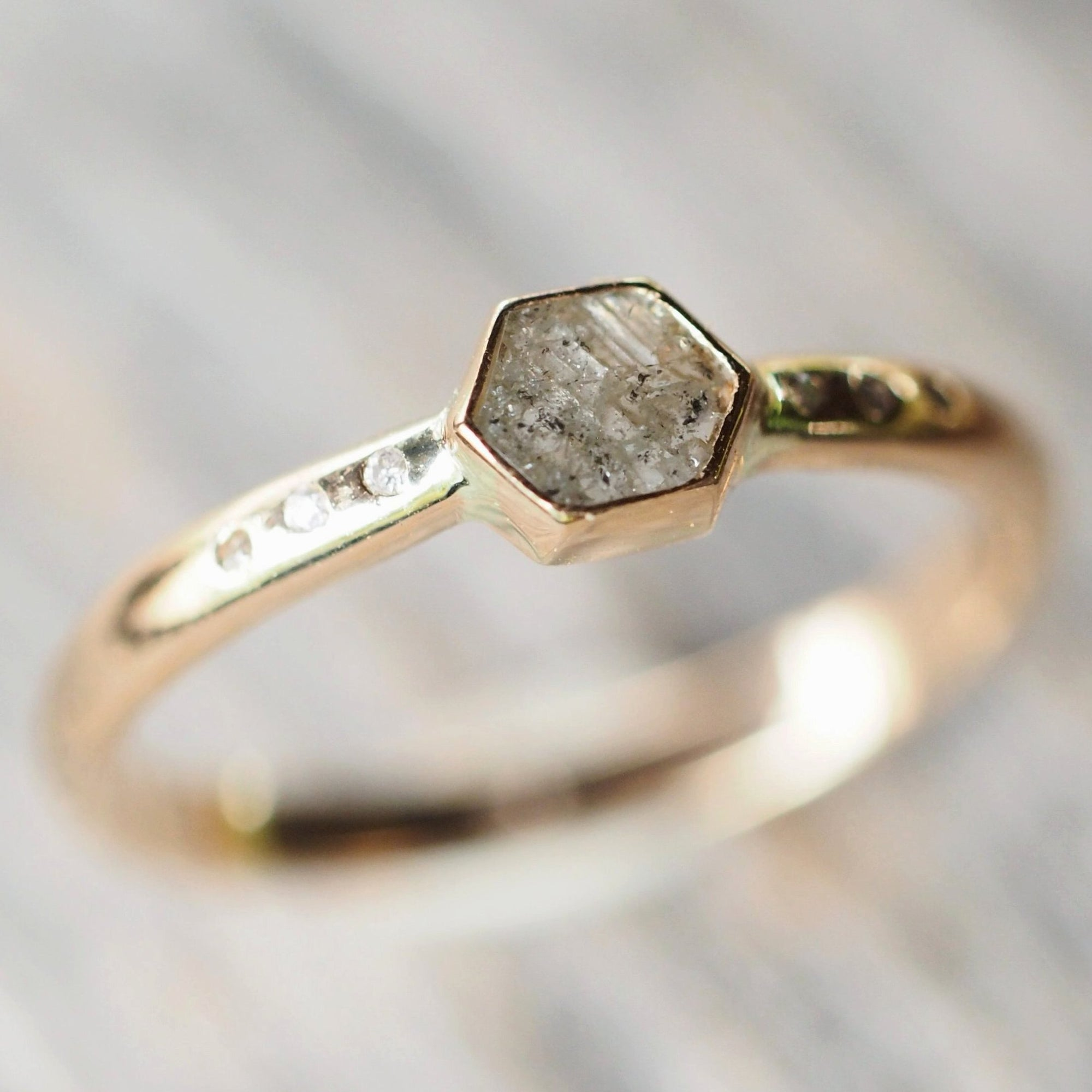 Hexagon Diamond Ring in Gold - Gardens of the Sun Jewelry