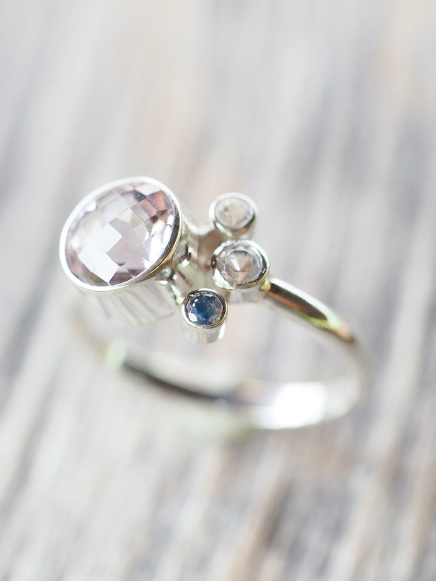 Lavender Amethyst and Rainbow Moonstone Ring