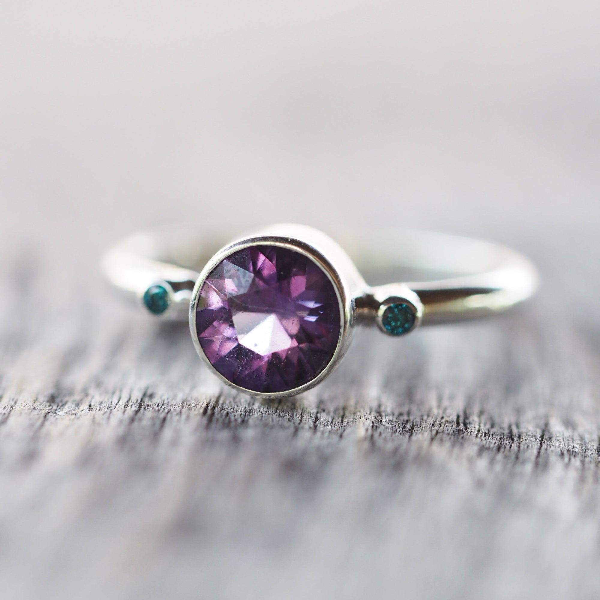 Amethyst and Blue Diamond Ring - Gardens of the Sun Jewelry