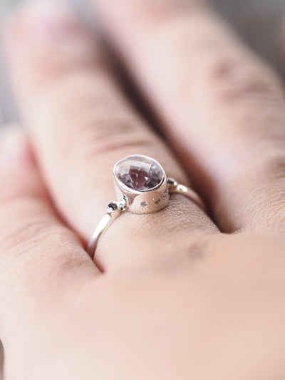 Lavender Amethyst and Color Change Garnet Ring - Gardens of the Sun Jewelry