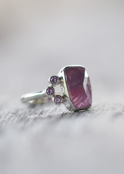 Cushion Cut Sapphire and Amethyst Ring - Gardens of the Sun Jewelry