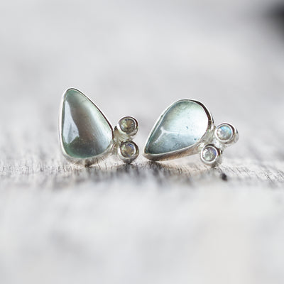 Aquamarine and Rainbow Moonstone Stud Earrings - Gardens of the Sun Jewelry