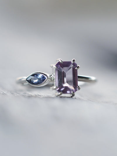 Octagonal Amethyst and Marquise Cut Iolite - Gardens of the Sun Jewelry