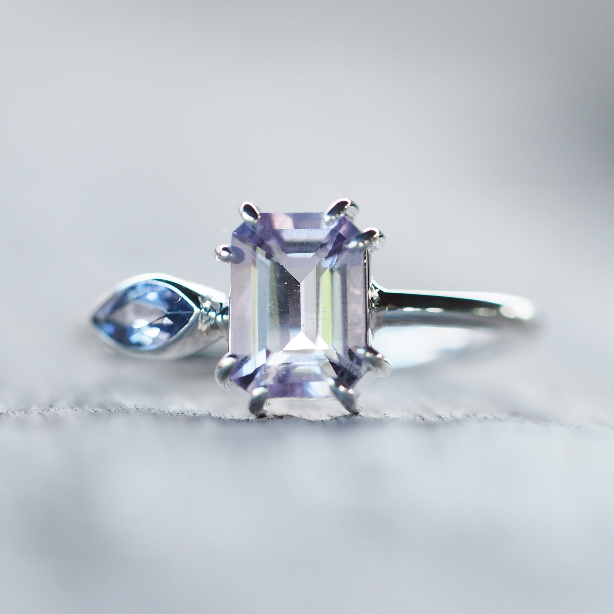 Octagonal Amethyst and Marquise Cut Iolite