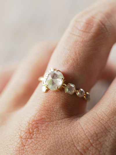 Rose Cut Diamond Cluster Ring - Gardens of the Sun Jewelry