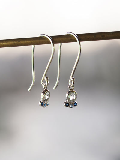 Rose Cut Aquamarine and Sapphire Dangle Earrings - Gardens of the Sun Jewelry