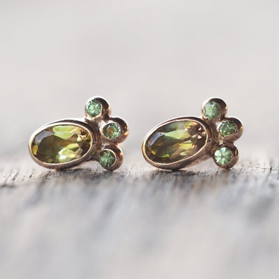 Watermelon Tourmaline Earrings in Rose Gold