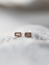 Grey Baguette Cut Diamond Earrings in Rose Gold - Gardens of the Sun Jewelry