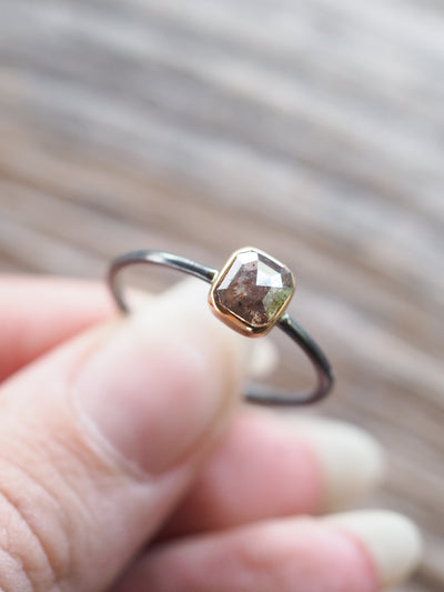 Veined Dark Diamond Ring - Gardens of the Sun Jewelry