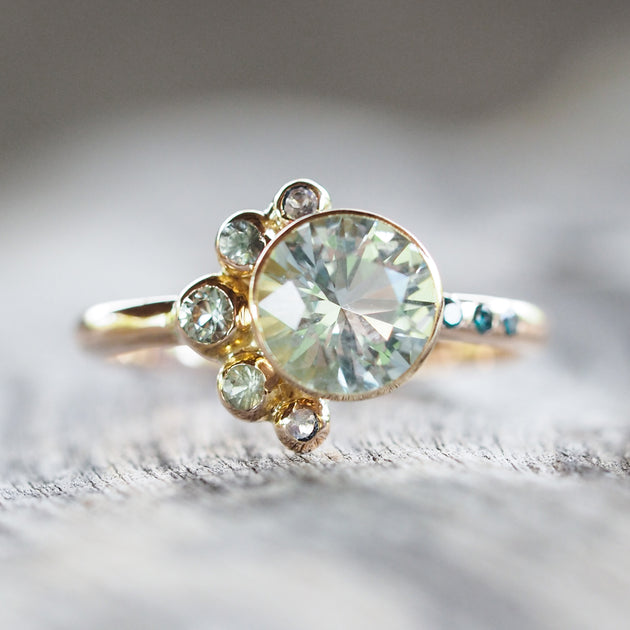 Mermaid Aquamarine Ring in Rose Gold Gardens of the Sun