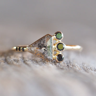 Triangle Salt and Pepper Diamond Ring - Gardens of the Sun Jewelry