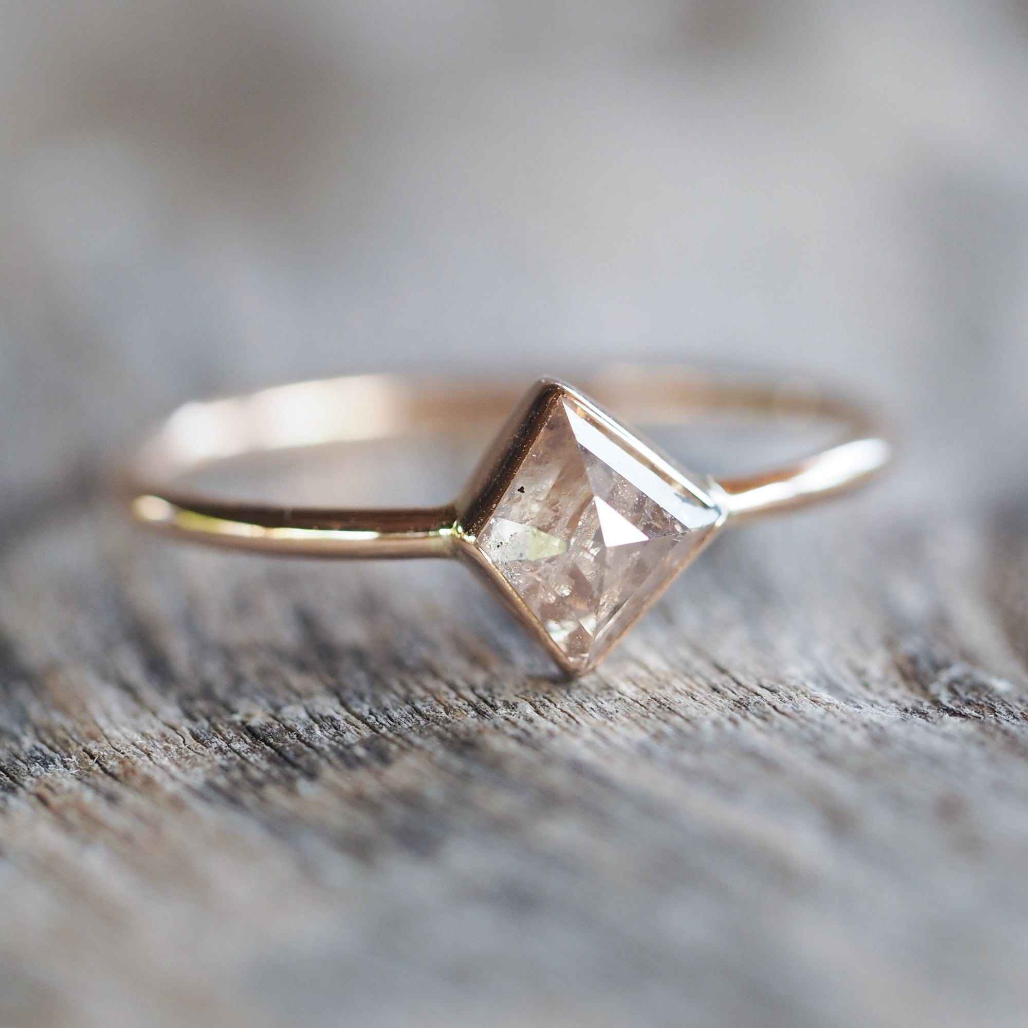 Champagne Peach Diamond Ring - Gardens of the Sun Jewelry