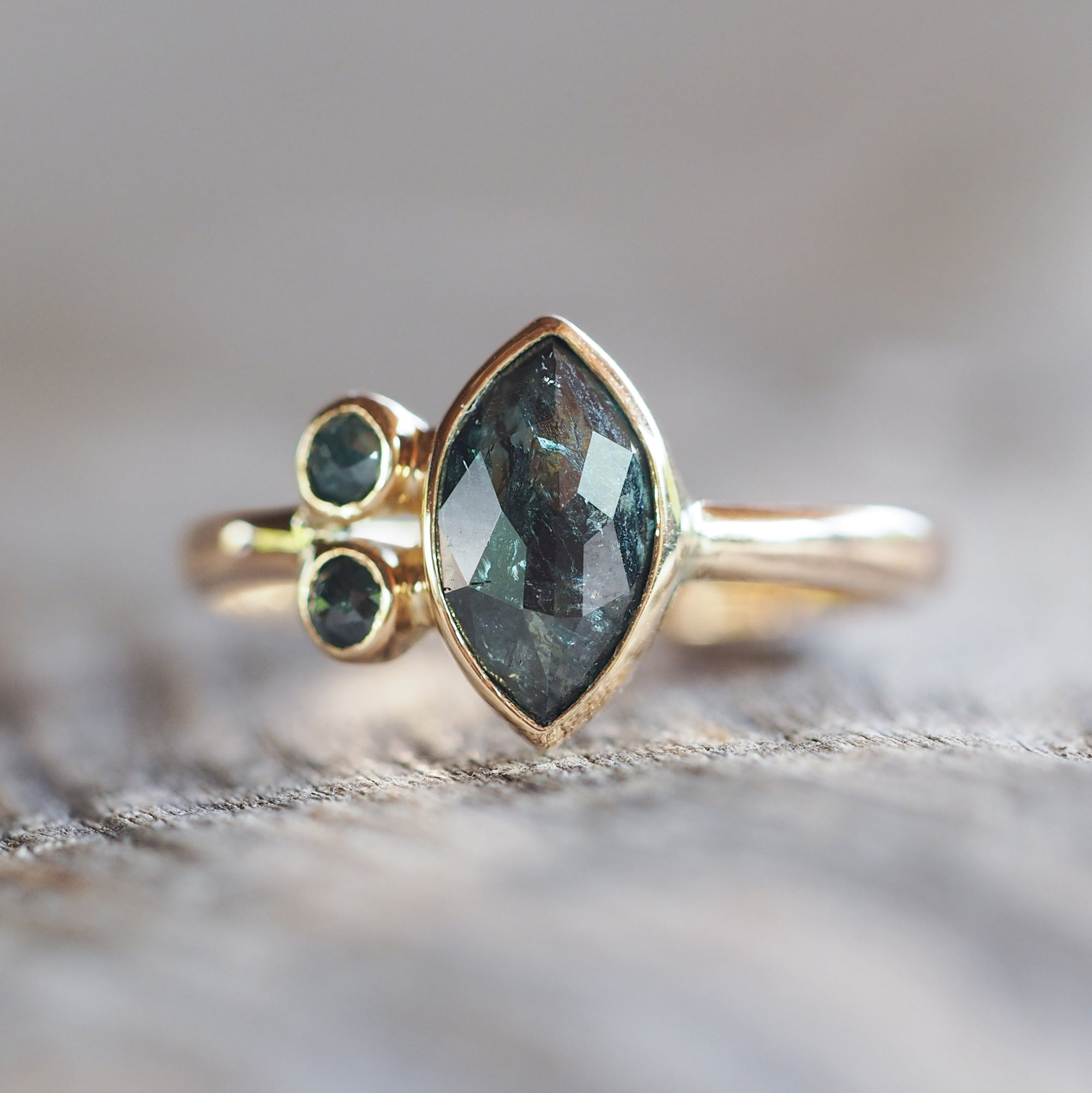 Blue Marquise Diamond Ring - Gardens of the Sun Jewelry