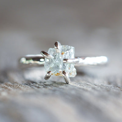 Rough Aquamarine Ring - Gardens of the Sun Jewelry