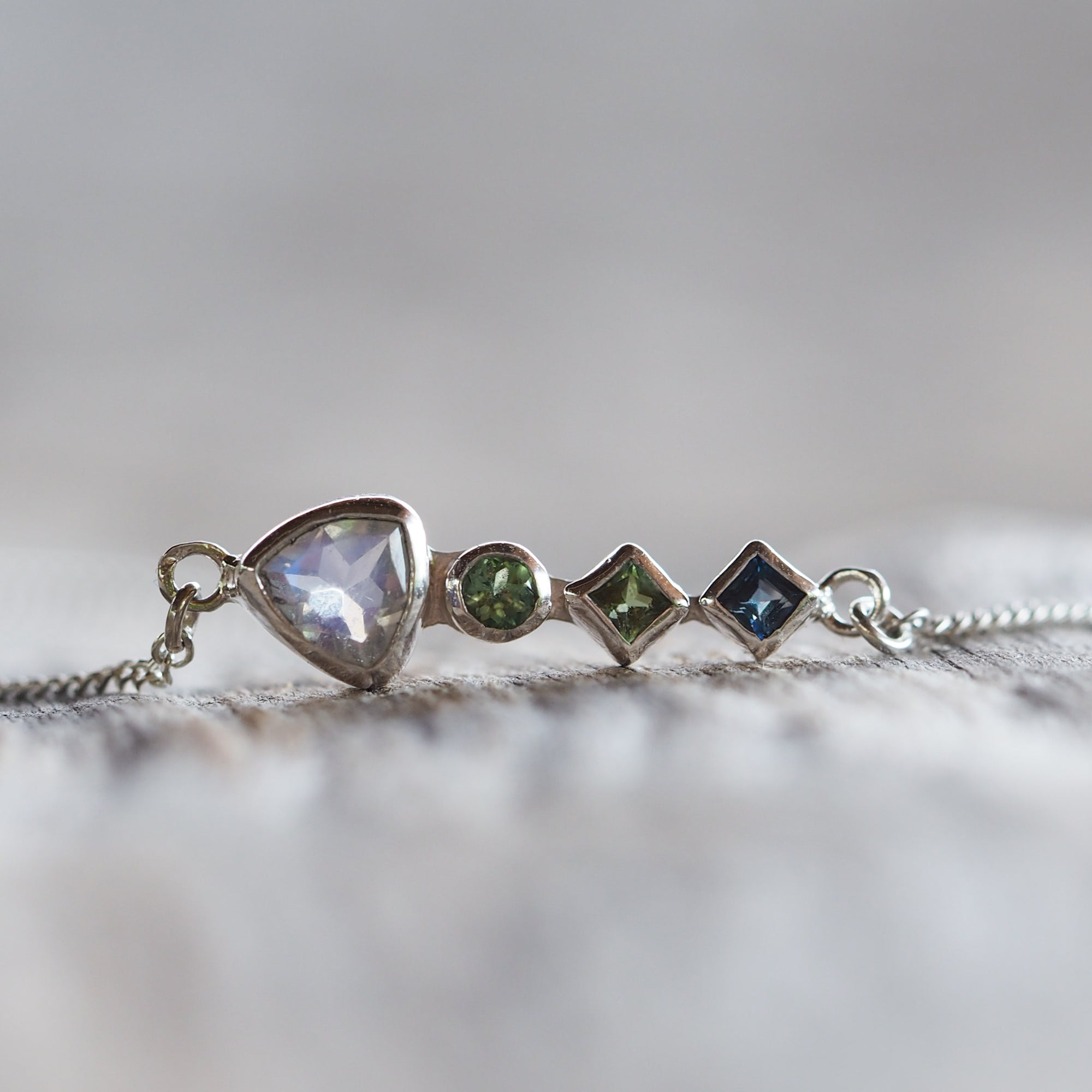 Rainbow Moonstone, Green Tourmaline and Sapphire Necklace