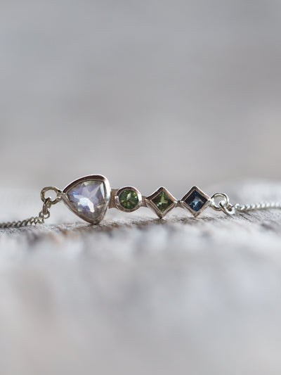Rainbow Moonstone, Green Tourmaline and Sapphire Necklace - Gardens of the Sun Jewelry
