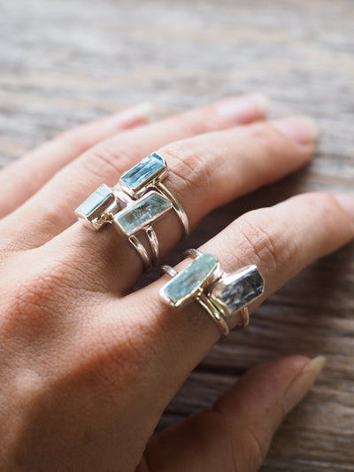 Aquamarine Crystal Ring - Gardens of the Sun Jewelry