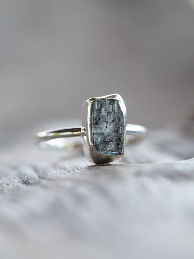 Aquamarine Crystal Ring