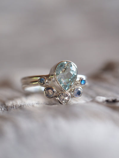 Aquamarine and Rainbow Moonstone Ring Set - Gardens of the Sun Jewelry