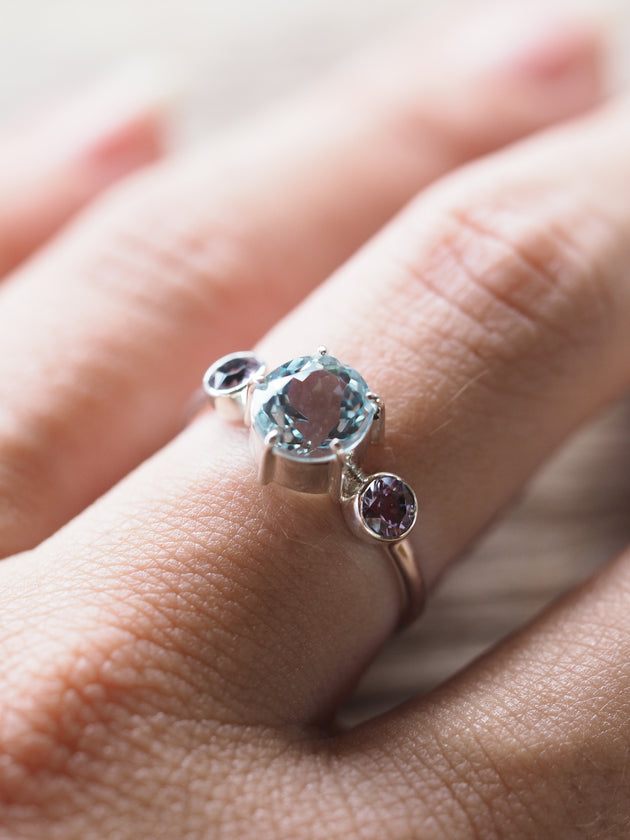 Aquamarine and Scapolite Ring