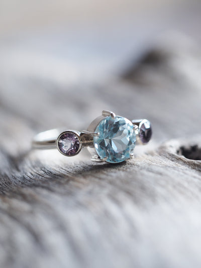 Aquamarine and Scapolite Ring - Gardens of the Sun Jewelry
