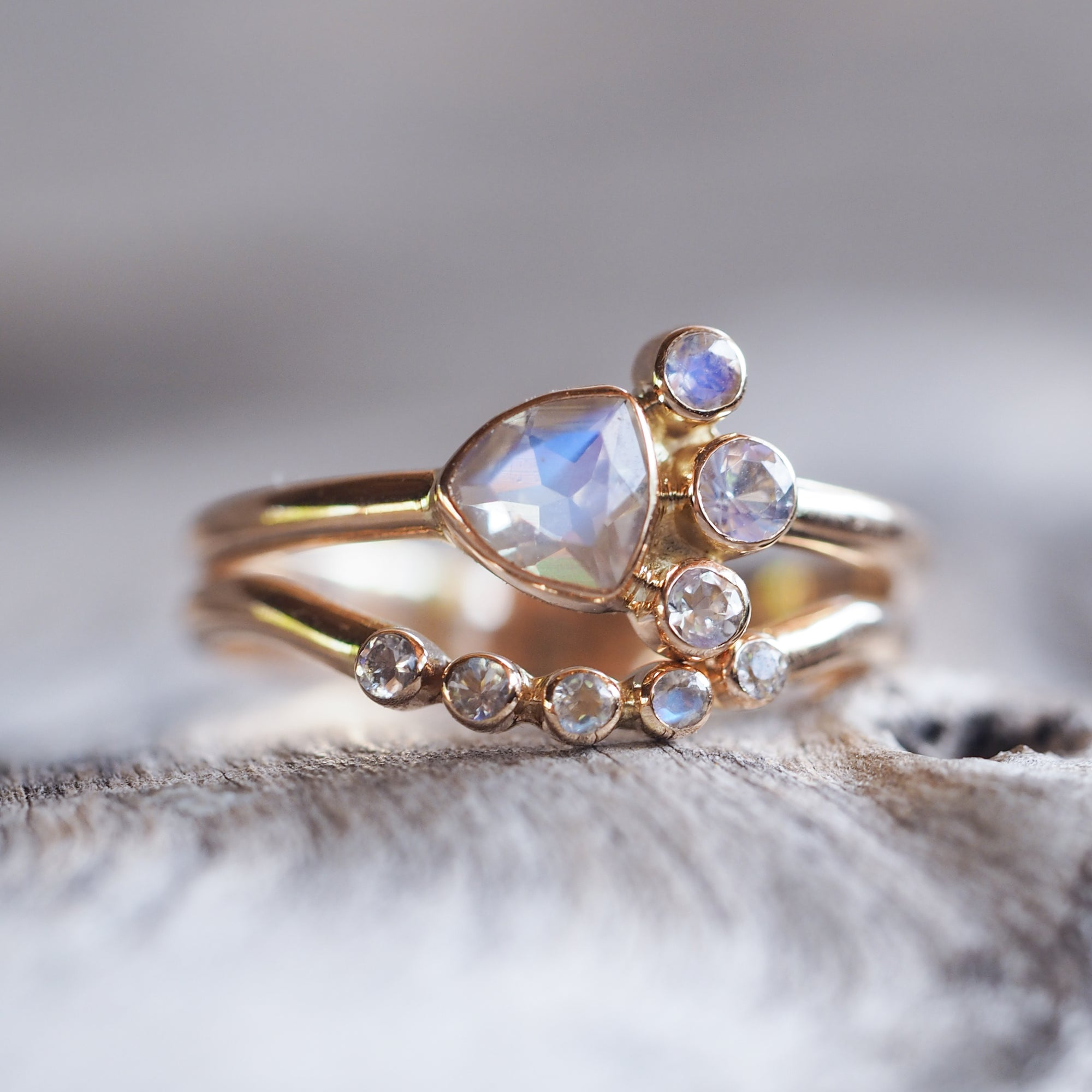 Rainbow Moonstone Ring Set in Rose Gold - Gardens of the Sun Jewelry