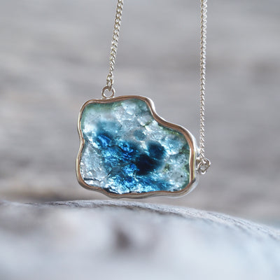Blue Tourmaline Slice Necklace - Gardens of the Sun Jewelry