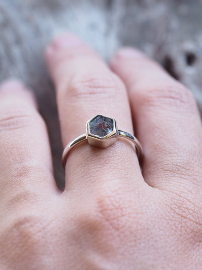Hexagonal Aquamarine Crystal Ring - Gardens of the Sun Jewelry