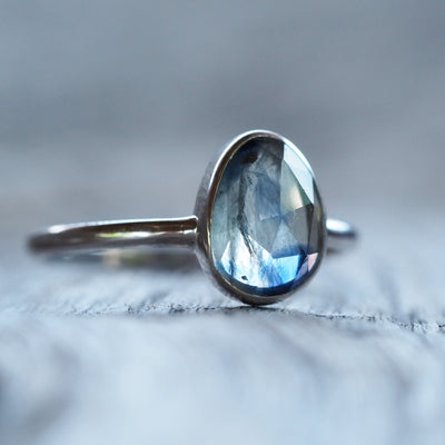 AA ATRI DESCRIPTIONS Rose Cut Montana Sapphire Ring in Silver | Build Your Own - Gardens of the Sun Jewelry
