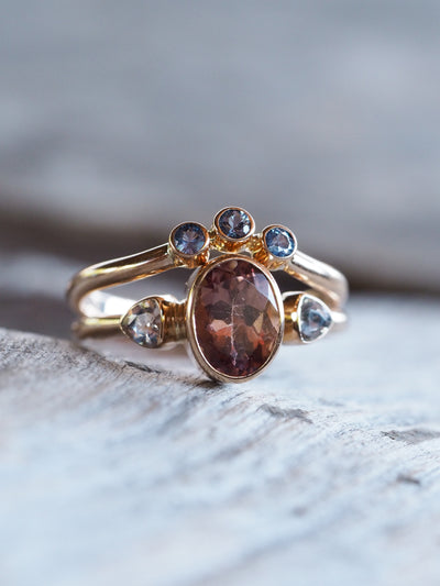Pink Apatite, Morganite and Montana Sapphire Ring Set in Rose Gold - Gardens of the Sun Jewelry