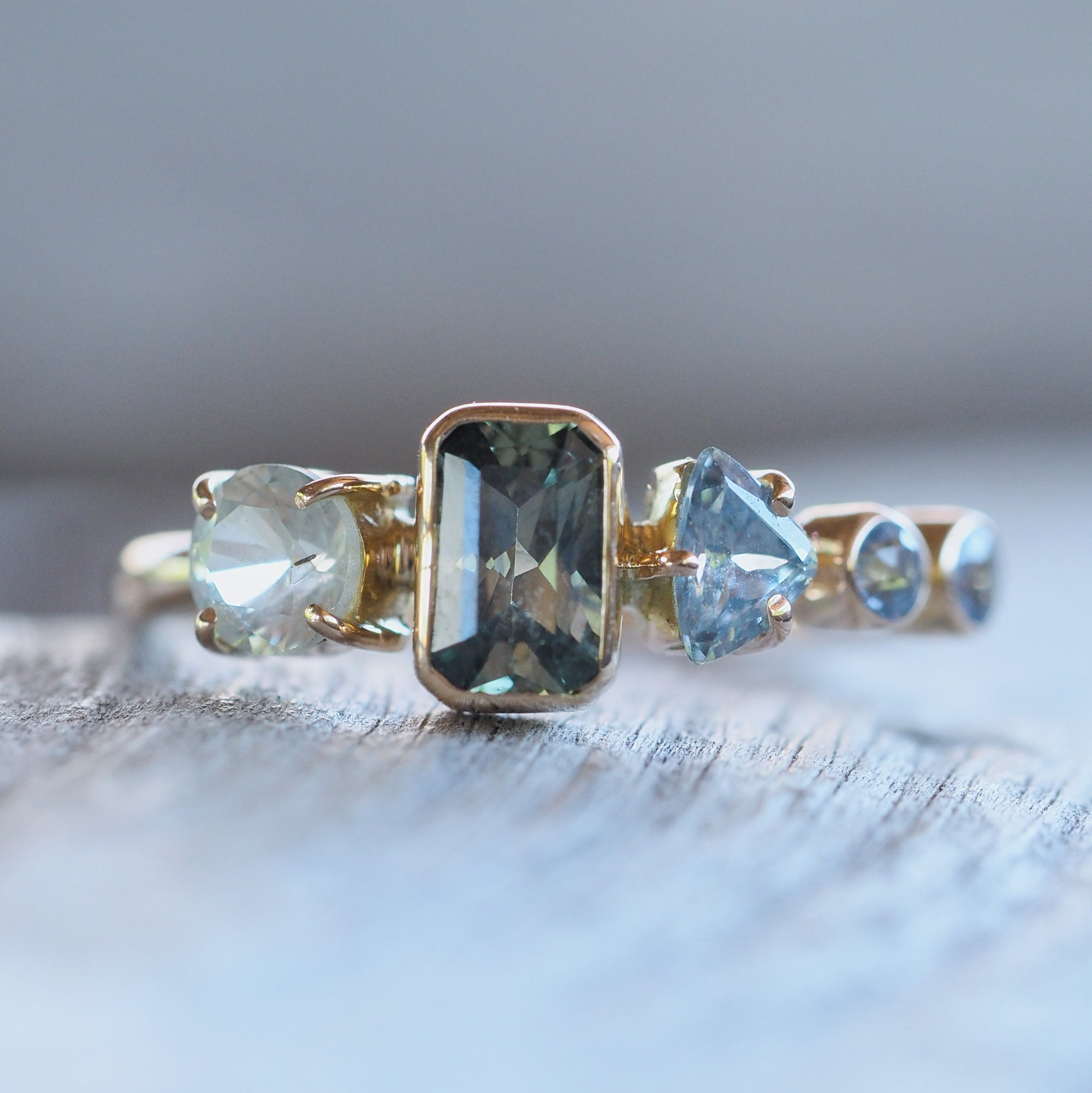 Montana Sapphire Cluster Ring in Yellow Gold