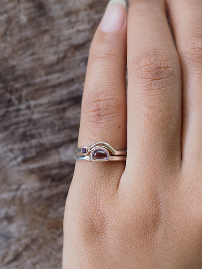 AAA SALE Color Change Garnet and Sapphire Ring Set - Gardens of the Sun Jewelry