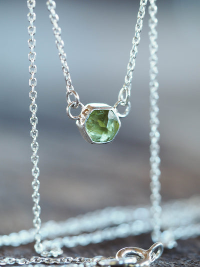 Hexagon Peridot Necklace - Gardens of the Sun Jewelry