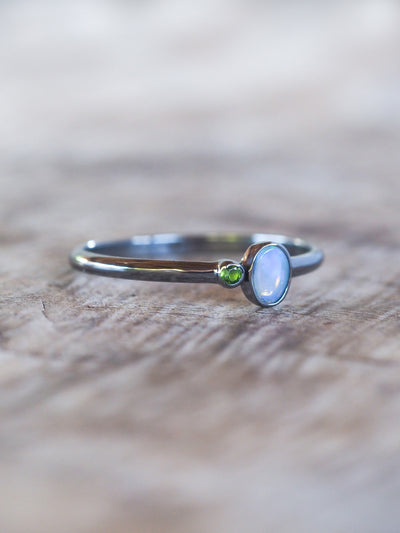 AA ATRI Opal Ring in Black Silver - Gardens of the Sun Jewelry